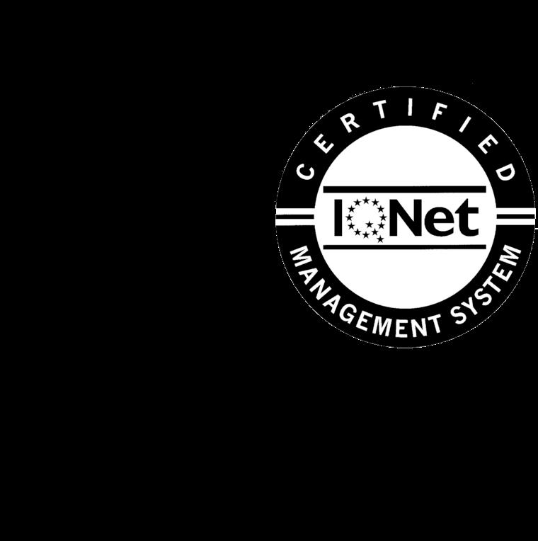 Logo ISO 9001 con IQNet en BN